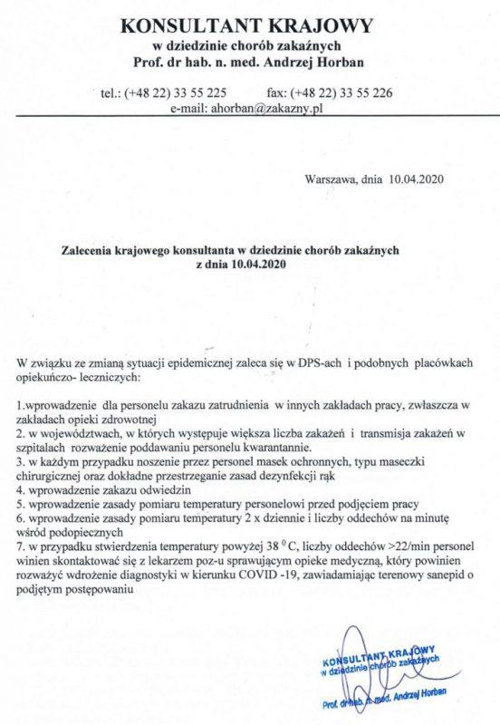 Krajowy konsultant w dziedzinie chorób zakaźnych – zalecenie dla DPS